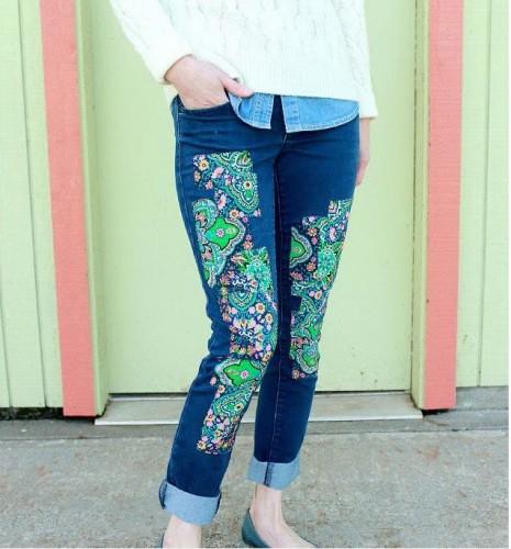تزئین شلوار لی با تکه پارچه - تکه دوزی روی شلوار جین