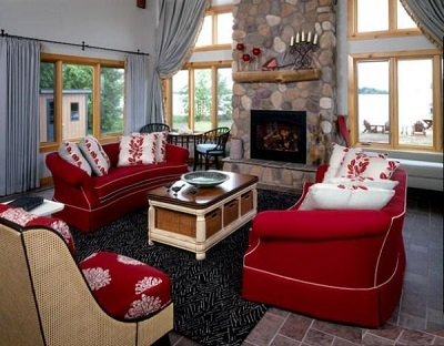 خانه و خانواده دکوراسیون  , طراحی داخلی با ترکیب رنگ قرمز