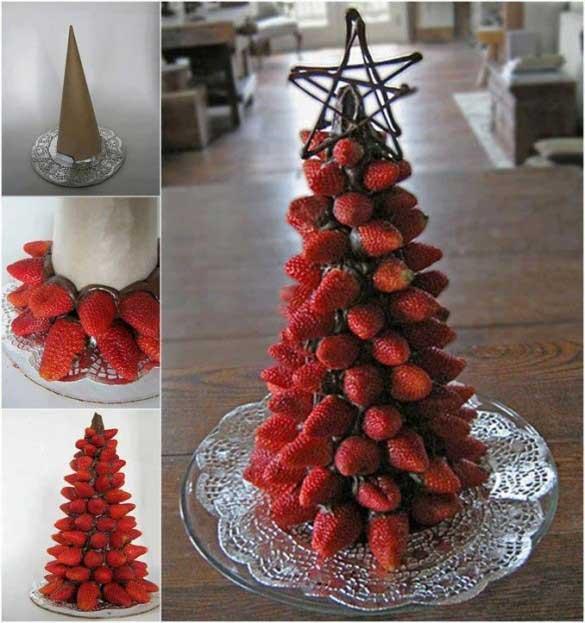 تزئین توت فرنگی به شکل درخت کریسمس
