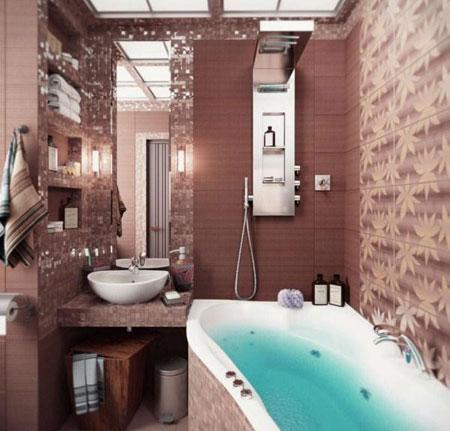 چیدمان دکوراسیون حمام کوچک