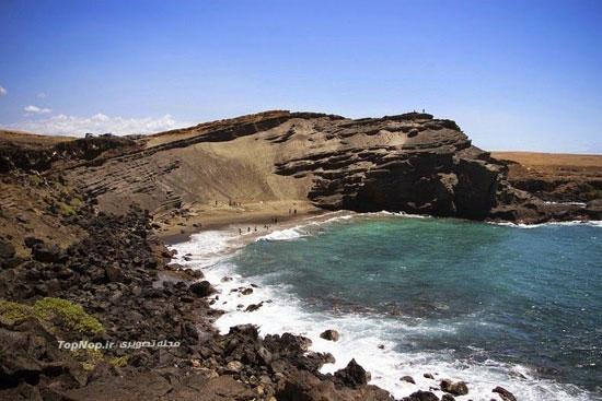 ساحل سبز رنگ در هاوایی +عکس