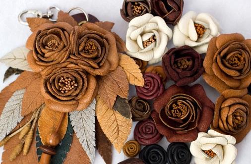 آموزش گل سازی  , آموزش تصویری ساخت گل چرمی