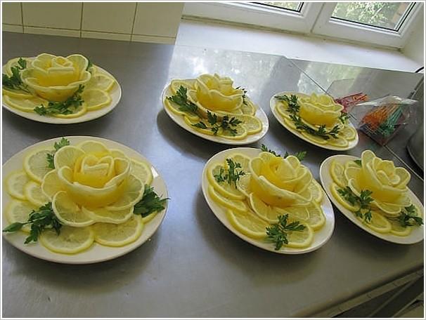 تزئین لیمو ترش به شکل گل