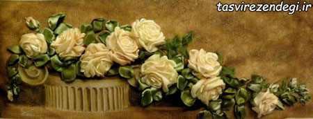 آموزش روبان دوزی,دوخت گل رز روبانی