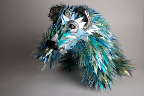 مجسمه , سی دی , مواد بازیافتی , شان آوری , هنرمند استرالیایی , مجسمه سازی , خلاقیت , سی دی شکسته