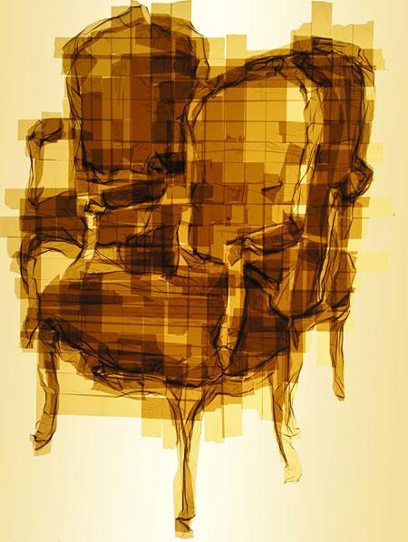 تصاویر دیدنی عکس و کلیپ  , خلق آثار هنری با چسب بسته بندی