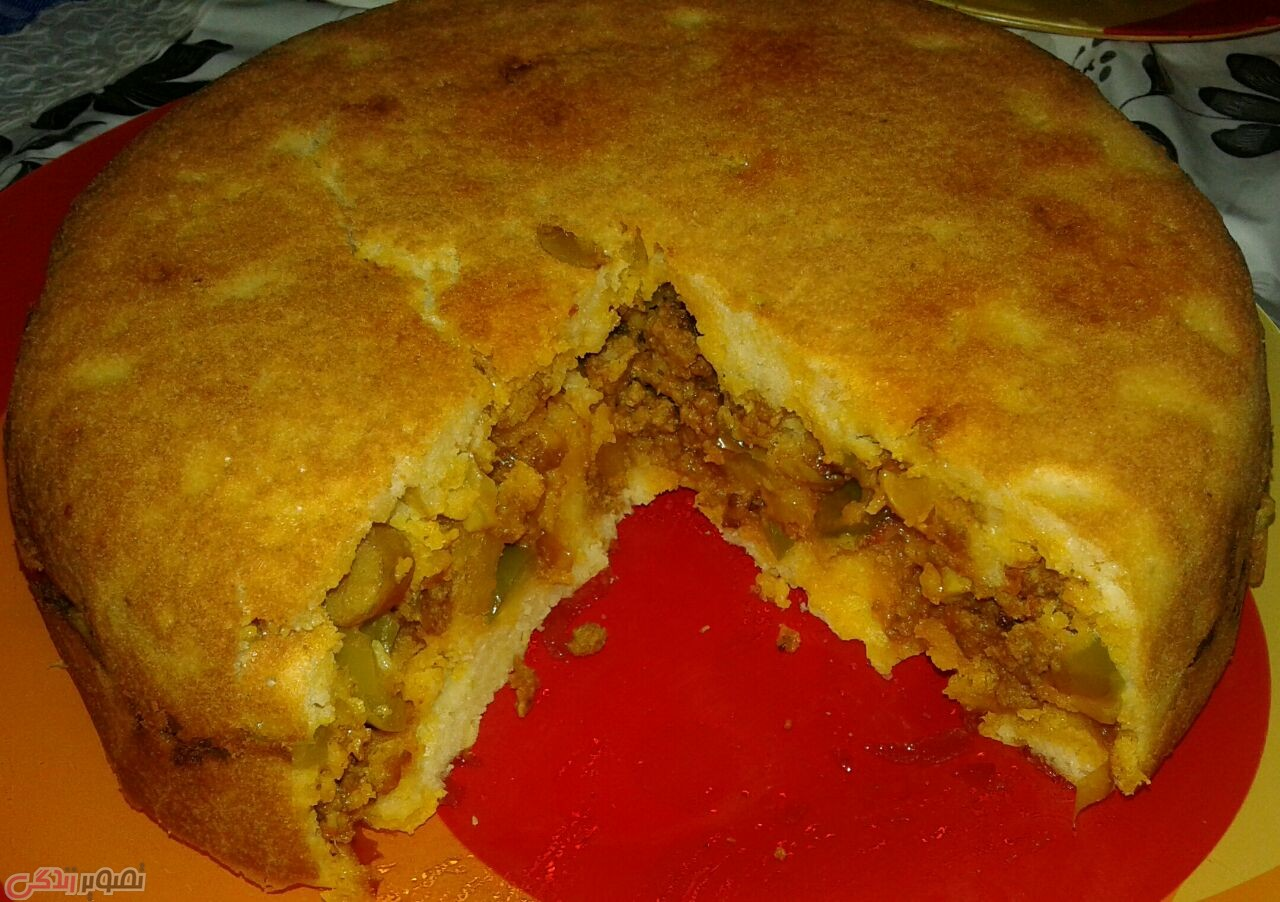 دستور پخت غذا  , طرز تهیه کیک گوشت بدون نیاز به فر • دستور کیک گوشت مجلسی ساده