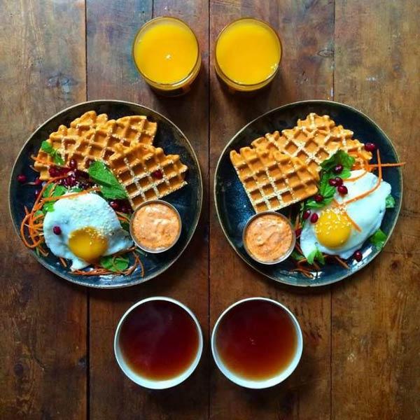 چیدمان صبحانه دو نفره