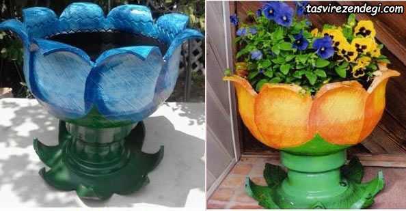 ساخت گلدان با لاستیک ماشین