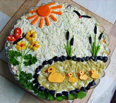 تزئین سالاد الویه برای جشن تولد,عکس تزیین سالاد الویه