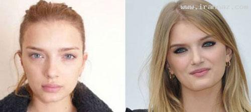 عکسهای مشهورترین سوپر مدل های زن بدون آرایش