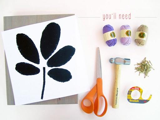 آموزش هنرهای دستی  , آموزش ساخت تابلو با میخ و کاموا