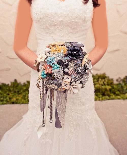 دسته گل عروس سنجاق سینه
