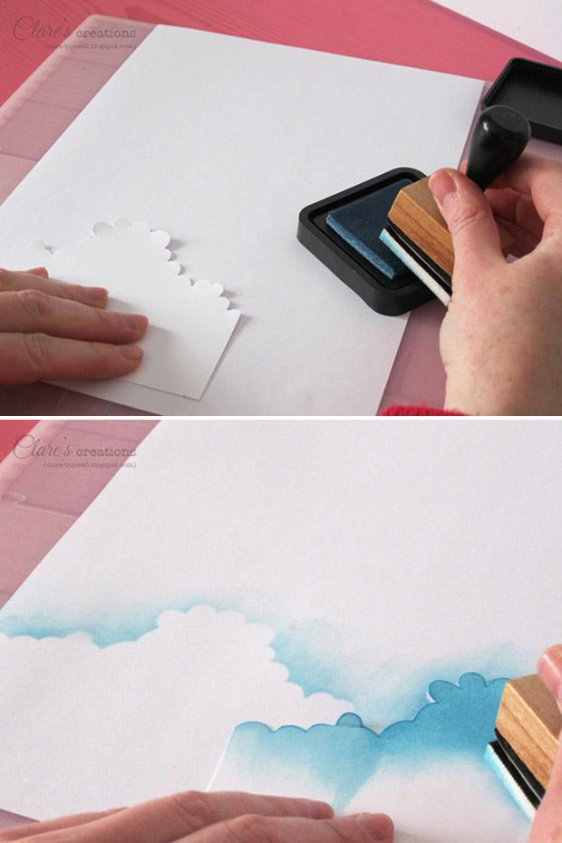 آموزش هنرهای دستی  , آموزش کشیدن آسمان ابری با اسفنج