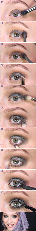 آموزش آرایش چشم , آرایش زمستانی چشم , میکاپ چشم, آموزش آرایش چشم دخترانه , آرایش چشم های رنگی , آرایش چشم با سایه طوسی