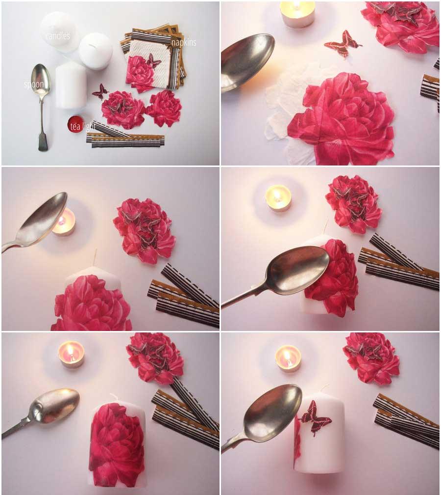 آموزش هنرهای دستی  , آموزش دکوپاژ روی شمع