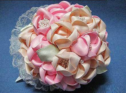 آموزش تصویری ساخت دسته گل روبانی