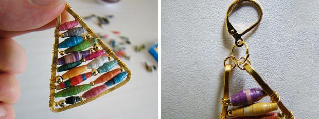 آموزش ساخت گوشواره با مهره های کاغذی