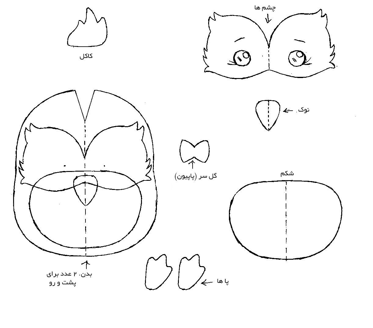 آموزش ساخت آویز خوشبو با طرح جغد, الگوی عروسک جغد
