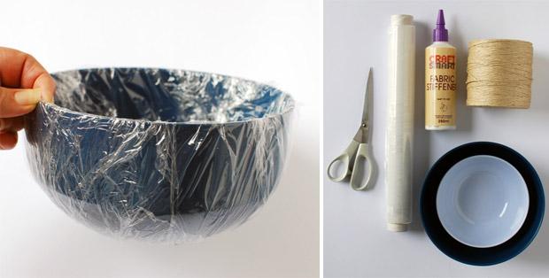 آموزش هنرهای دستی  , آموزش ساخت کاسه با نخ کنفی