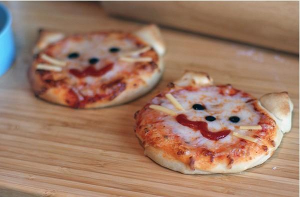 تزیین پیتزا به شکل گربه