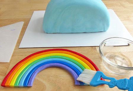 تزیین رنگین کمانی کیک,آموزش تصویری تزیین کیک