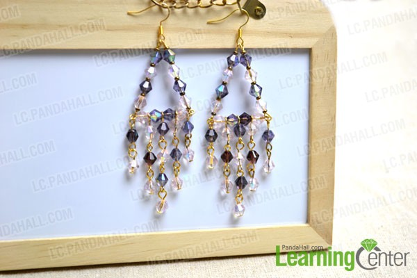 finished long chandelier earrings with glass beads