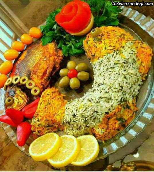 تزیین سبزی پلو ماهی