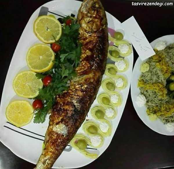 تزیین باقلا پلو ماهی