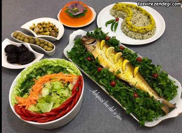 تزیین پلو ماهی