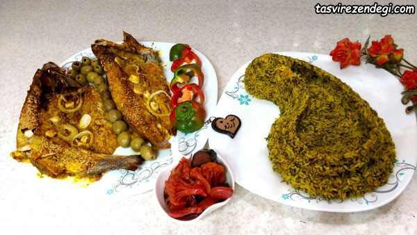 تزیین شوید باقلا پلو ماهی