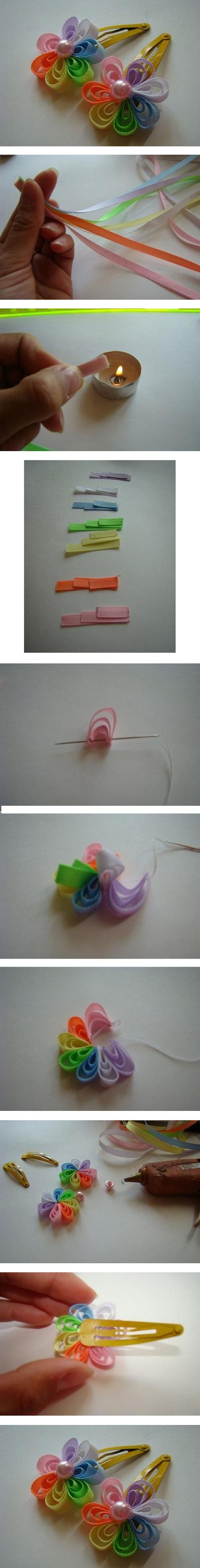 آموزش تصویری درست کردن گل با روبان
