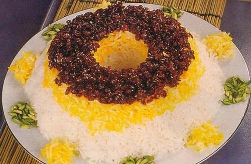 تزئین پلو زعفرانی - تزیین غذا - سفره آرایی