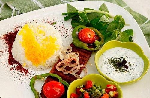 تزیین چلو کباب - تزیین غذا - سفره آرایی