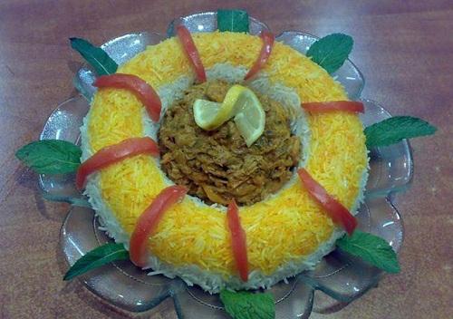 تزئین چلو - تزیین غذا -  سفره آرایی