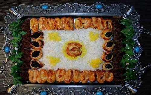تزیین جوجه کباب - تزیین پلو - تزئین چلو کباب - تزیین غذا