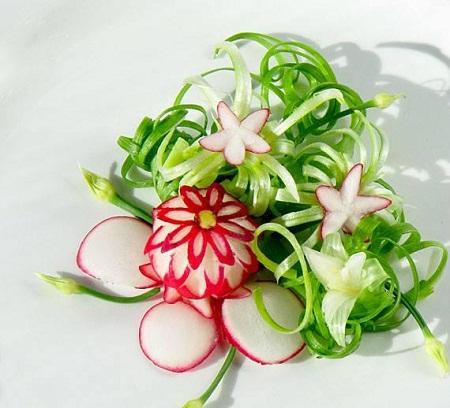 عکس تزیین سبزی خوردن - سبزی آرایی مجلسی - تزئین ترب و پیازچه