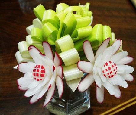 عکس تزئین سبزی خوردن - سبزی آرایی مجلسی - تزئین ترب و پیازچه