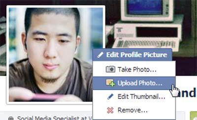آموزش فیس بوک,آموزش کار با فیس بوک,آپلود تصویر پروفایل و کاور