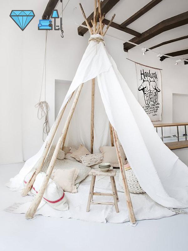 ایجاد فضای بازی در اتاق کودک با چادر صحرایی