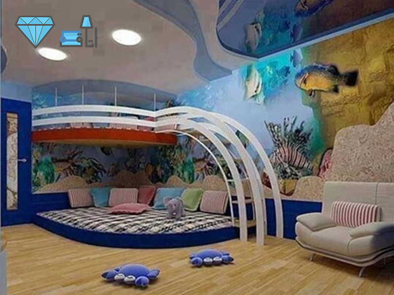 دکوراسیون اتاق کودک به سبک آکواریوم با فضایی بزرگ برای بازی