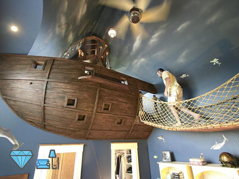 دکوراسیون اتاق کودک با استفاده از کشتی چوبی مناسب برای بازی کودک