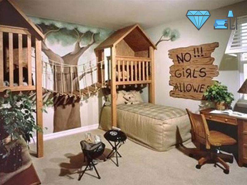 دکوراسیون اتاق کودک با استفاده از کلبه چوبی مناسب برای بازی کودک