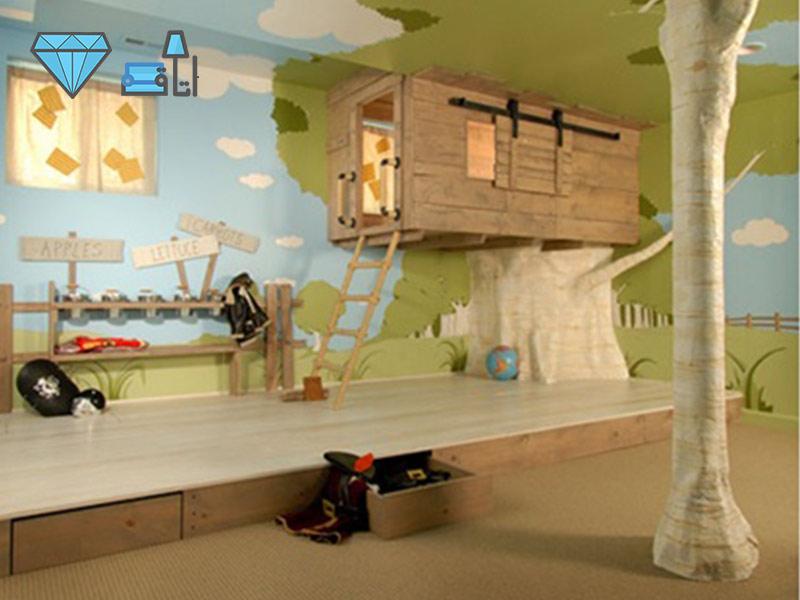 دکوراسیون اتاق کودک به سبک جنگلی با فضایی مناسب برای بازی