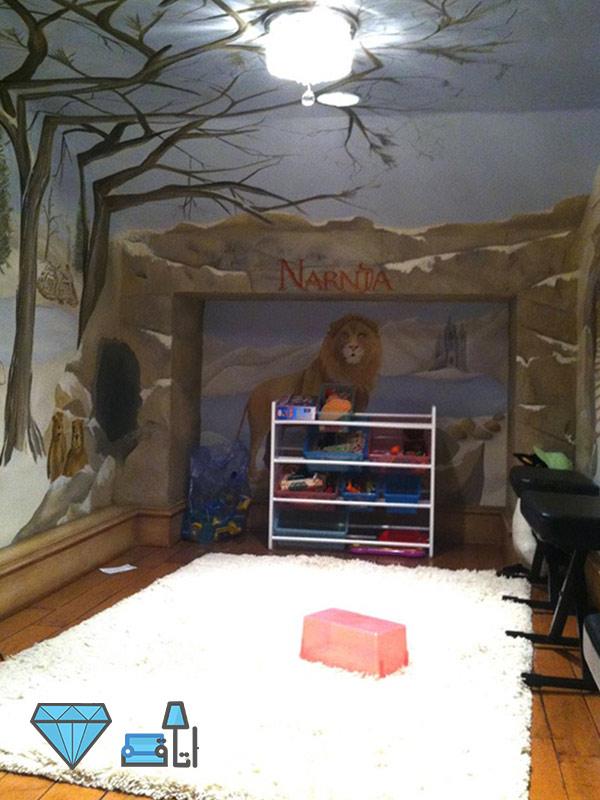 دکوراسیون اتاق کودک با طرح نارنیا و فضایی مناسب برای بازی