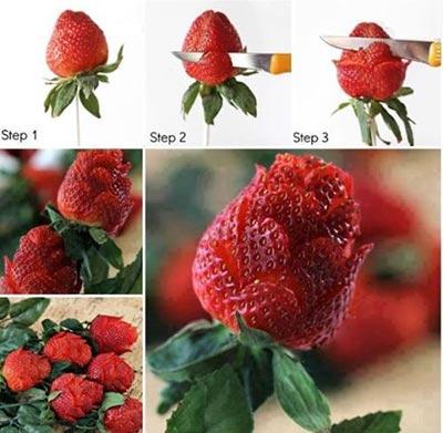 میوه آرایی,آموزش میوه آرایی,میوه آرایی با توت فرنگی