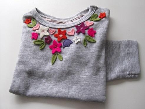 تزئین بلوز با گل های نمدی,تزیین بلوز,گل های نمدی,تزیین لباس, گل فوتر ,گل نمدی ,هنر دستی