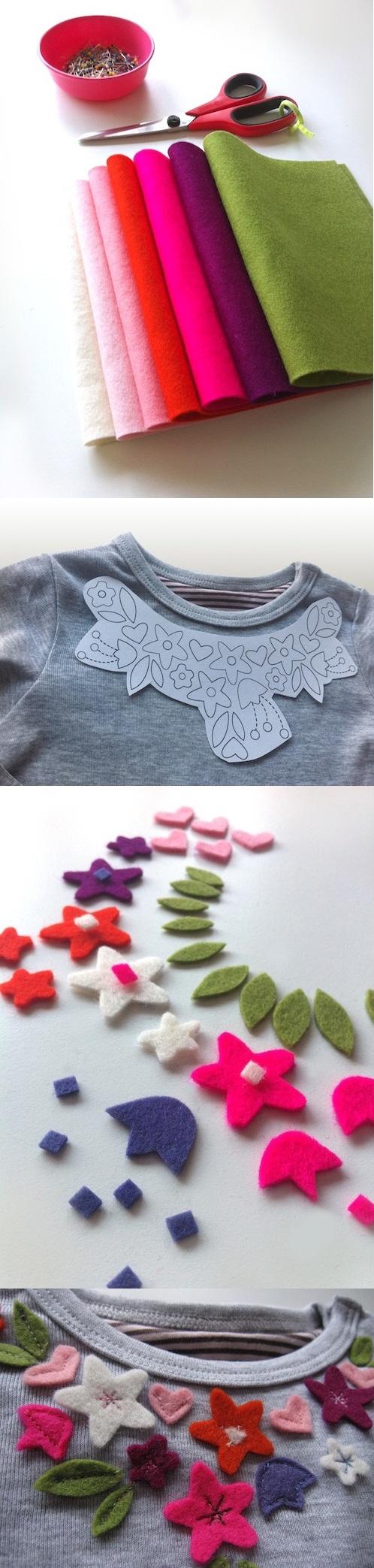تزئین بلوز با گل های نمدی,تزئین بلوز,گل های نمدی,تزیین لباس, گل فوتر ,گل نمدی ,هنر دستی- خلاقیت با فوتر - ترئین لباس با فوتر - تزئین لباس با پارچه نمدی