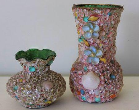 صدف,تزیین وسایل منزل با صدف, تزیین وسایل, تزیین گلدان, تزیین آینه, تزیین ساعت, تزیین صندلی