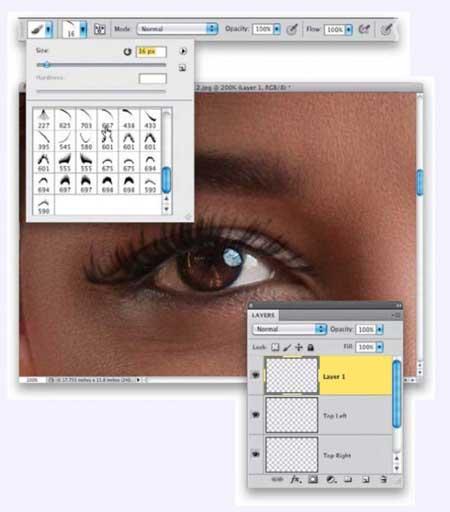 دانستنی ها کامپیوتر  , آموزش روتوش عکس : افزودن مژه